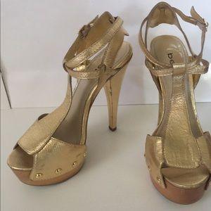Bebe Gold Sandal Heels Ankle strap,platform 8M